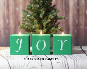 Joy Candles, Green Christmas Candles, Rustic Christmas Decor, Primitive Christmas Decorations, Christmas Table decor, Christmas Mantle