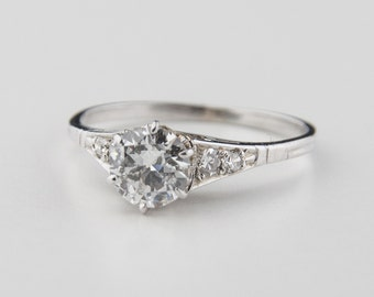 Vintage 0.8 Engagement Ring - Antique Diamond 1920's 18kt White Gold