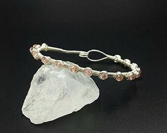 Clearance, wrap bracelet, wire wrapped bracelet, crystal bangle, pink bracelet, beaded bracelet, beaded bangle, crystal bracelet, boho