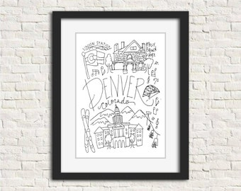 Denver, Colorado Black and White Art Illustration 8 x 10 in. Wall Print