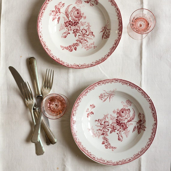 French Garden Blooms Transferware Soup Dishes - set of 2