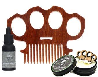 Brass Knuckles Beard Care Kit: Balm, Oil, Knuckle Duster Beard Combs
