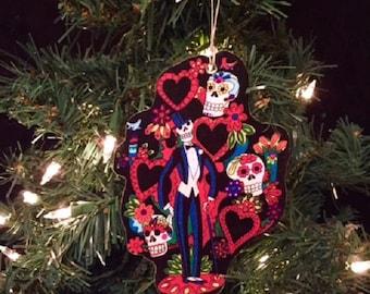 Day of the Dead Skeletons Handmade Wooden Ornament