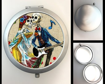 Compact Mirror Day of the Dead Musical Skeletons