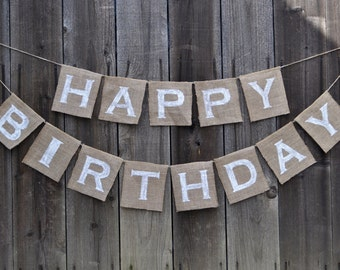 Happy Birthday Burlap Banner - Happy Birthday Banner - Birthday Banner - Burlap Birthday Banner - Happy Birthday Bunting - Birthday Garland