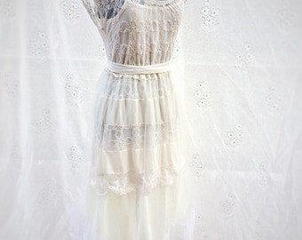 Ivory lace upcycled wedding dress, boho wedding dress