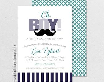 Little Man Baby Shower Invitation 1, Customized, Digital File