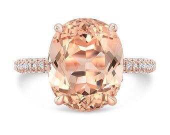 4.10 Ct. Oval Cut Morganite & Diamond Engagement Ring 14K Rose Gold with Double Invisible Halo