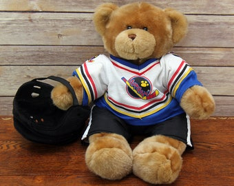 "Teddy Bear in Hockey Uniform ~ Adorable 17"" Build-A-Bear ~ Very Soft and Cute ~ Excellent, Like New Condition!"