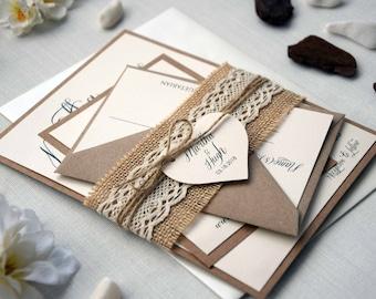Lace Wedding Invitation Kit, Simple Wedding Invite, Custom Invitations, Unique Wedding Invitation, Fall Wedding Invitations - SAMPLE