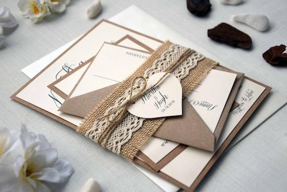 Wedding Invitations Kit: Lace Wedding Invitation Kit Simple Wedding Invite Custom