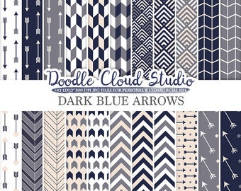 Dark Navy Blue Cream Grey Arrows digital paper, Arrow patterns tribal archery chevron triangles background, Personal & Commercial Use
