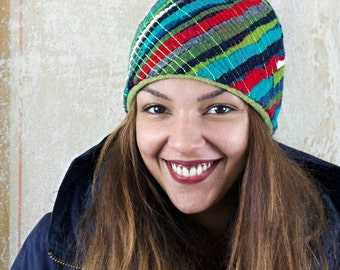 upcycling fulled loden beanie diagonal stripes