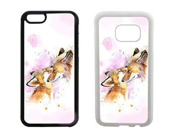 Rubber case iPhone 8 7 6 6S Plus, X SE 5S 5C 5 4S, Samsung Galaxy S8 Plus, S6 S7 Edge, S5 S4, Note 5, animal fox bumper phone cover. R296