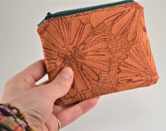 Orange and Teal Floral Zippered Coin Purse