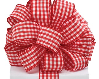 "1.5"" x 20 yds Red & White Gingham Ribbon/Wired Edge/Wreath Supplies/Spring Ribbon/9718049"