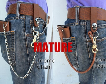 "Mature,Bad Mother F*cker Deluxe Trifold Wallet, iPhone 5, 5c, 5s & 6 Carrier, Genuine Leather, 18"" Chrome or Leather Chains, Trucker ,Biker"