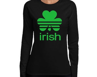 Ladies Irish Shamrock  Long Sleeve T-shirt