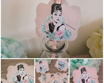 12 Audrey Hepburn Breakfast at Tiffany's Hollywood Straw Pen/ Cake Toppers Tea Party,Decoration,Birthday,Tea Party Pick, Wedding,Baby Shower