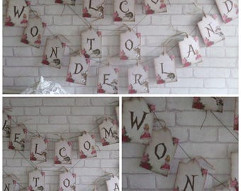 Alice in Wonderland  Welcome to Wonderland Tag Bunting,Garland,Flag,Banner - Party,Decoration,Floral,Tea Party,Decor,