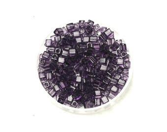 15 grams of beads Miyuki Cubes 3 mm Amethyst transparent