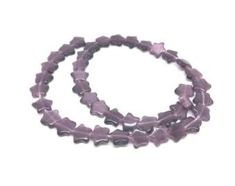 40 stars color purple cat eye beads