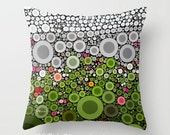 "Flower Dots 16"" X 16"" Pillow Cover. Photo Art, TMCdesigns. Pink, Green, Gray, Black, White. Abstract. Mod, Pop Art. Farm, Summer, Zinnias."