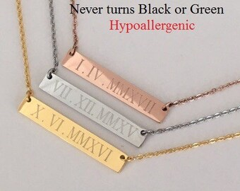 Roman Numeral Necklace, date necklace, Personalized necklace, Rose Gold Necklace, bridesmaid gift