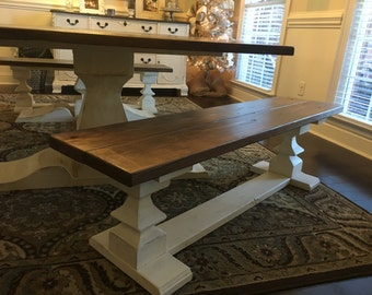 Hand Built Double Pedestal Bench