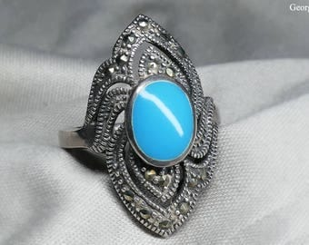 Vintage Handmade Marcasite and Turquoise Ring with Sterling Silver 925, US size 6