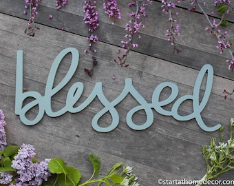 Blessed Typography Word Cutout | MDF word sign | Typography | Start at Home Decor