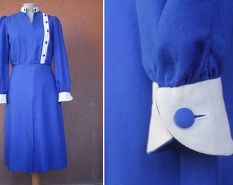 1940's Royal Blue Cotton and Silk Dress - 1940's Long Office Dress - Size M
