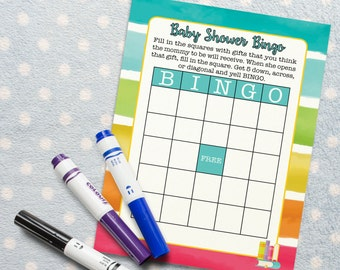 Baby Shower Bingo Activity for Rainbow Book Themed Baby Shower. Baby Shower Game/ Baby Shower Activity. DIGITAL DOWNLOAD*
