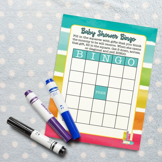 Baby Shower Bingo Activity For Rainbow Book Themed Baby