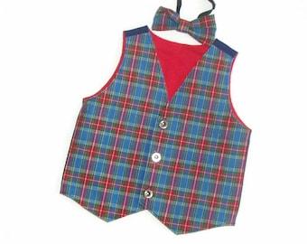 Baby's tartan waistcoat/vest + bow tie. Approx age 9-12 months.