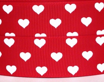 red with white hearts grosgrain ribbon 3 yards 1 valentine ribbon valentines day