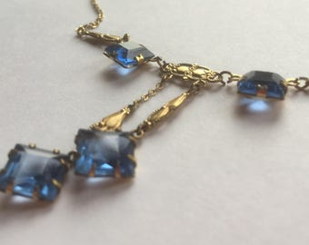Vintage Art Deco Aqua Blue Glass Assymetrical Pendant Necklace With Gold Tone Metal Chain 1930s Costume Jewelry
