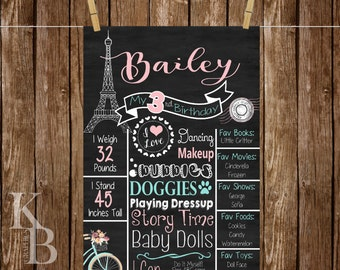 Paris Birthday Chalkboard Sign - Printable Chalkboard Sign - First Birthday Board - Eiffel Tower Birthday Chalkboard