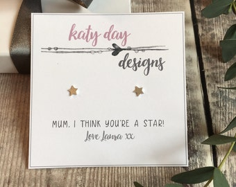 Personalised 'I think youre a star!' Sterling Silver Star Earrings with free gift box