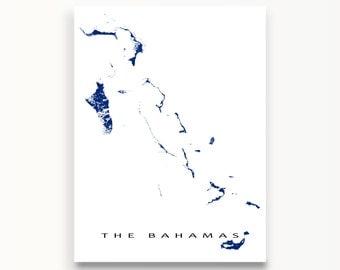 The Bahamas Map Print, Nassau, Andros Island, Grand Bahama, Caribbean Islands Map Poster