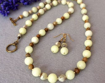 Yellow Necklace Set Long Yellow Necklace Set Yellow Bead Necklace Boho Beaded Necklace Yellow Stone Necklace Birthday Gift For Her Wife Mom