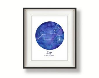 Zodiac -Leo - Constellation - Watercolour Art Print