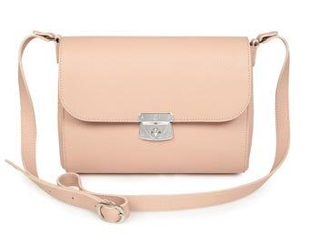 Leather Cross body Bag, Beige Leather Shoulder Bag, Women's Leather Crossbody Bag, Leather bag KF-1000