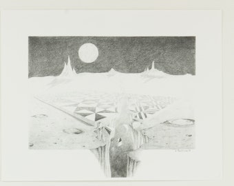 Moonscape Print, Moonscape Pencil Drawing, Nancy Little Art, Moonscape Pencil Drawing Print, Space Art, Moon Art, Moon Print, Space Print
