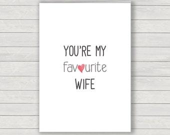Wife Card, Valentines greetings card, love card, humorous card