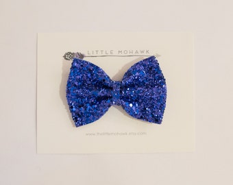 The Riley // large blue glitter bow