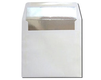 25 Square White with Silver Foil Lined Envelopes - CLEARANCE 10 CENTS EACH