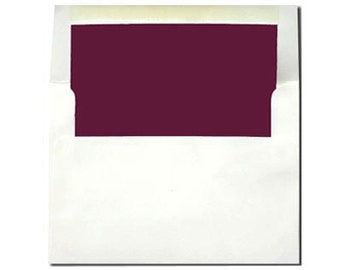 20 White with Burgundy Lined Envelopes - A7 and A2 Sizes - A2 SIZE ON SALE: 5 Cents Each