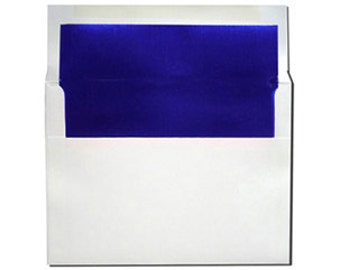20 White with Blue Foil Lined Envelopes - A7 Size