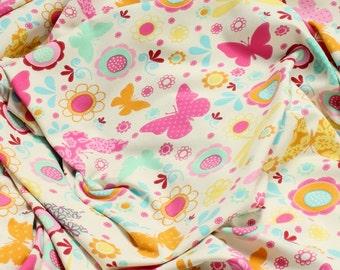 Fabric for children cotton elasten single jersey ecru flower butterfly colourful Oeko - Tex Standard 100